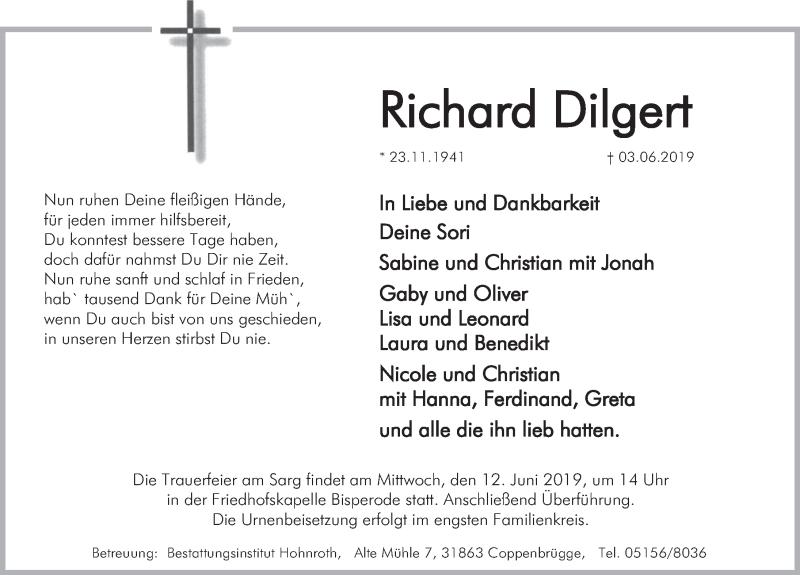 Traueranzeige für Richard Dilgert vom 08.06.2019 aus Deister- und Weserzeitung