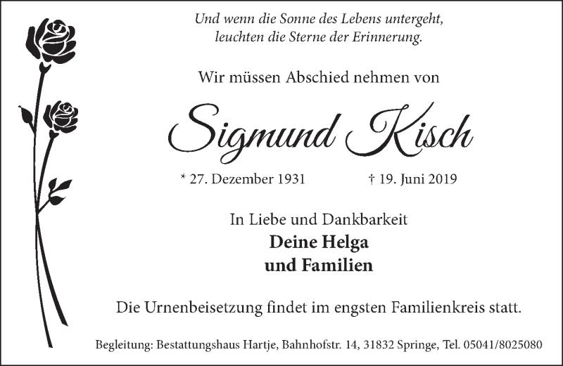 Traueranzeige für Sigmund Kisch vom 29.06.2019 aus Neue Deister-Zeitung