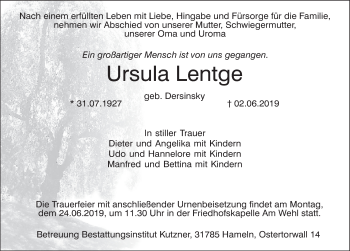 Traueranzeige für Ursula Lentge vom 08.06.2019 aus Deister- und Weserzeitung