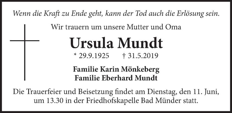 Traueranzeige für Ursula Mundt vom 05.06.2019 aus Neue Deister-Zeitung