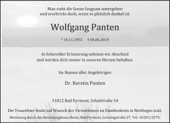 Traueranzeige für Wolfgang Panten vom 12.06.2019 aus Deister- und Weserzeitung