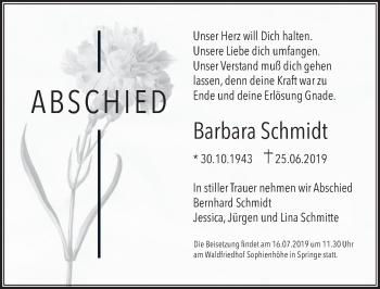 Traueranzeige für Barbara Schmidt vom 06.07.2019 aus Neue Deister-Zeitung