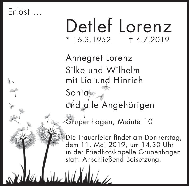 Traueranzeige für Detlef Lorenz vom 06.07.2019 aus Deister- und Weserzeitung