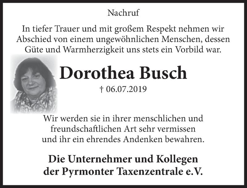 Traueranzeige für Dorothea Busch vom 13.07.2019 aus Deister- und Weserzeitung