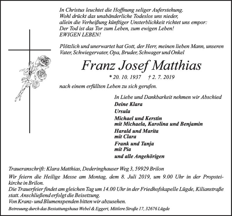 Traueranzeige für Franz Josef Matthias vom 06.07.2019 aus Deister- und Weserzeitung