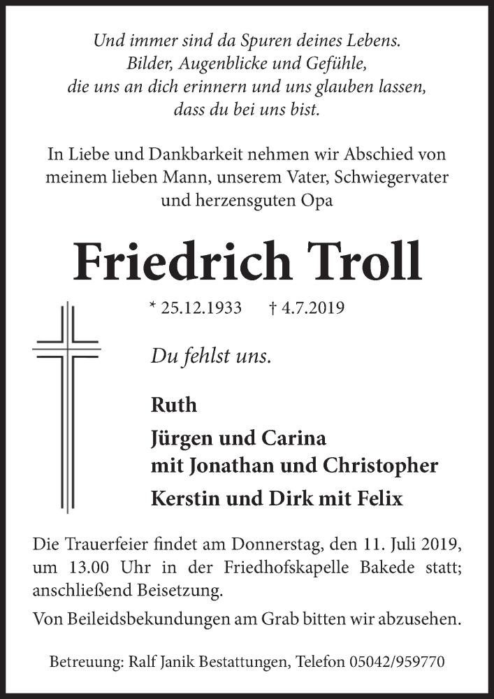 Traueranzeige für Friedrich Troll vom 09.07.2019 aus Neue Deister-Zeitung