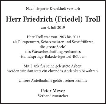 Traueranzeige für Friedrich Troll vom 11.07.2019 aus Neue Deister-Zeitung