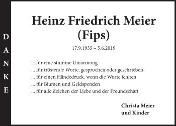 Traueranzeige für Heinz Friedrich Meier vom 06.07.2019 aus Deister- und Weserzeitung