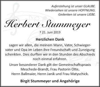 Traueranzeige für Herbert Stummeyer vom 13.07.2019 aus Neue Deister-Zeitung