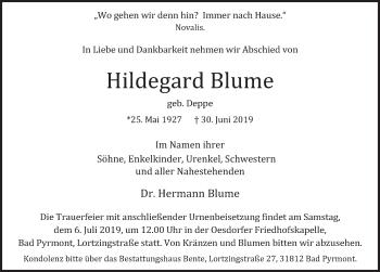 Traueranzeige für Hildegard Blume vom 03.07.2019 aus Deister- und Weserzeitung