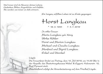 Traueranzeige für Horst Langkau vom 10.07.2019 aus Deister- und Weserzeitung