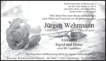 Traueranzeige für Jürgen Wehrmann vom 03.07.2019 aus Deister- und Weserzeitung