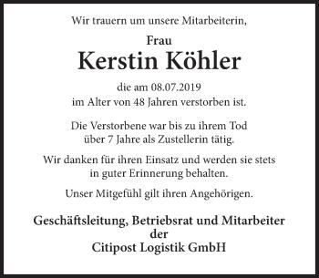Traueranzeige für Kerstin Köhler vom 13.07.2019 aus Deister- und Weserzeitung