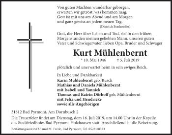 Traueranzeige für Kurt Mühlenbernt vom 10.07.2019 aus Deister- und Weserzeitung