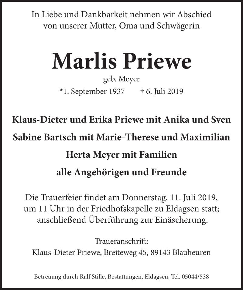 Traueranzeige für Marlis Priewe vom 09.07.2019 aus Neue Deister-Zeitung