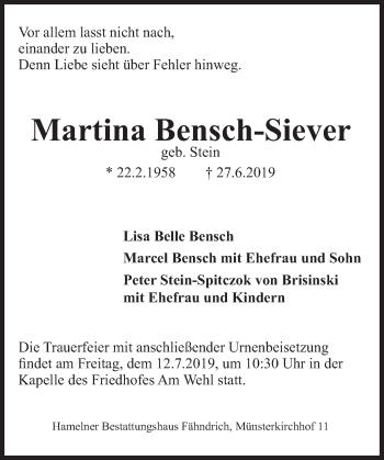 Traueranzeige für Martina Bensch-Siever vom 06.07.2019 aus Deister- und Weserzeitung