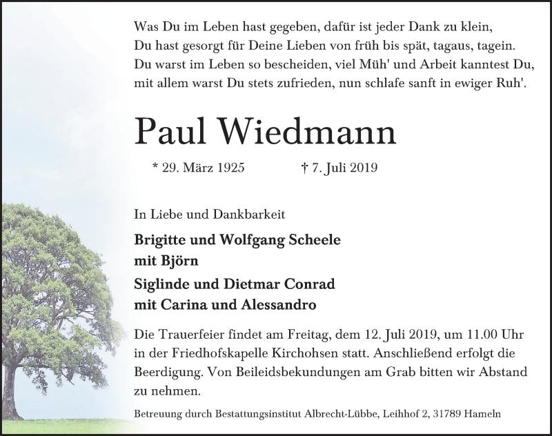 Traueranzeige für Paul Wiedmann vom 10.07.2019 aus Deister- und Weserzeitung