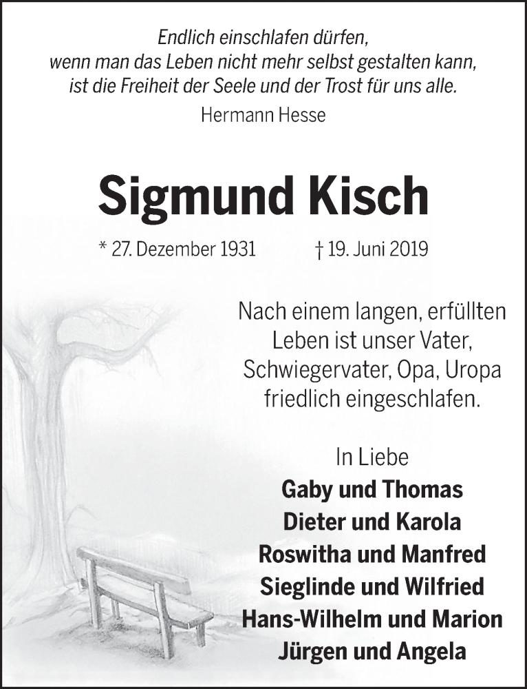 Traueranzeige für Sigmund Kisch vom 03.07.2019 aus