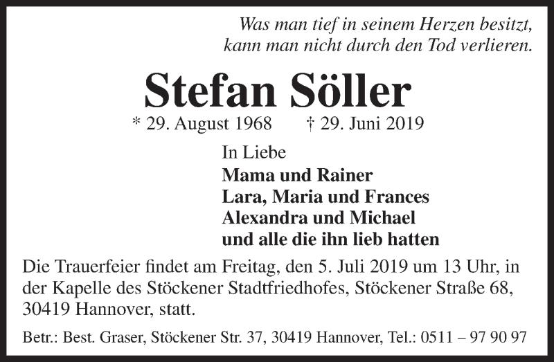 Traueranzeige für Stefan Söller vom 02.07.2019 aus Deister- und Weserzeitung