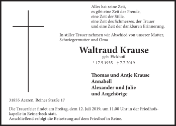 Traueranzeige für Waltraud Krause vom 10.07.2019 aus Deister- und Weserzeitung