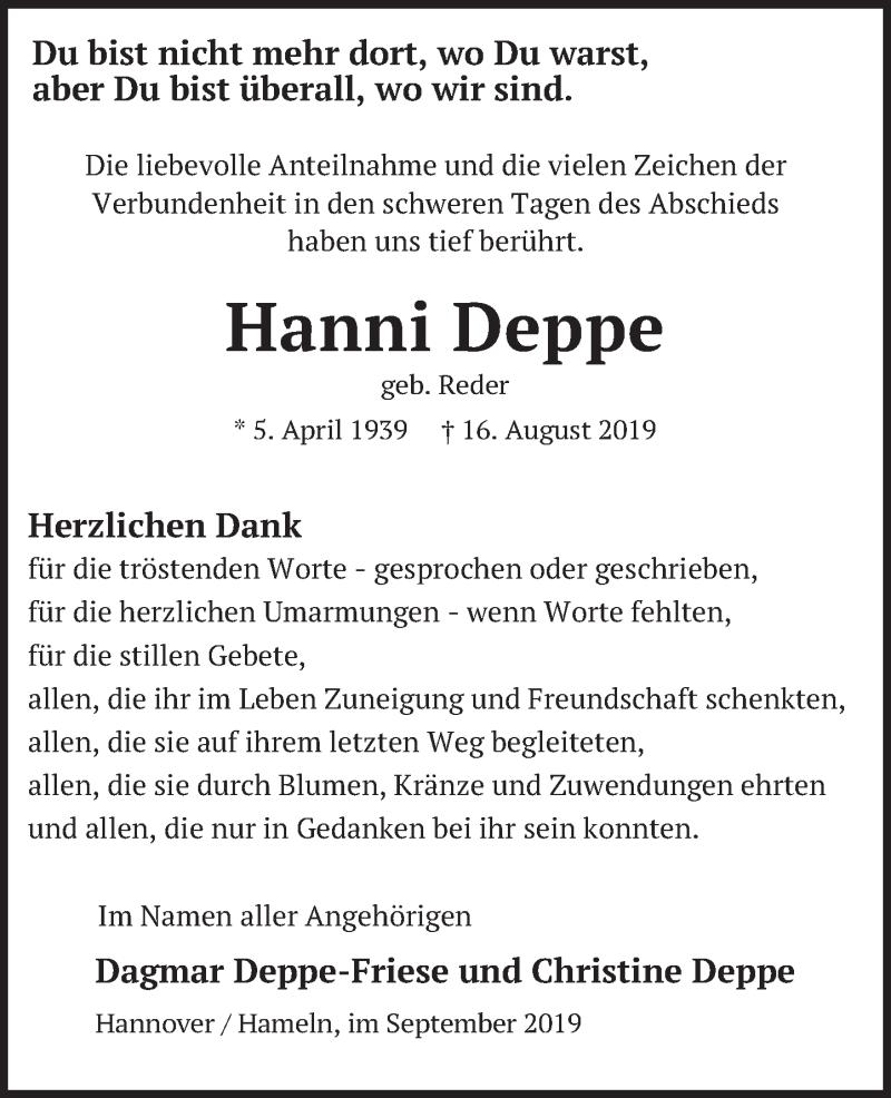 Traueranzeige für Hanni Deppe vom 07.09.2019 aus Deister- und Weserzeitung