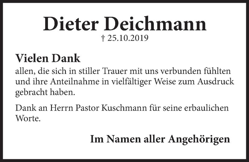 Traueranzeige für Dieter Deichmann vom 03.02.2020 aus Deister- und Weserzeitung