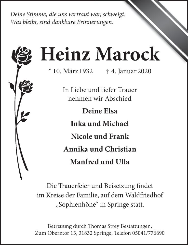 Traueranzeige für Heinz Marock vom 11.01.2020 aus Neue Deister-Zeitung