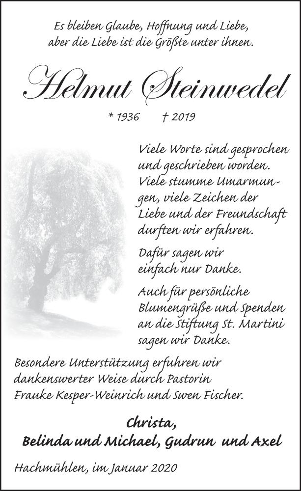 Traueranzeige für Helmut Steinwedel vom 25.01.2020 aus Neue Deister-Zeitung