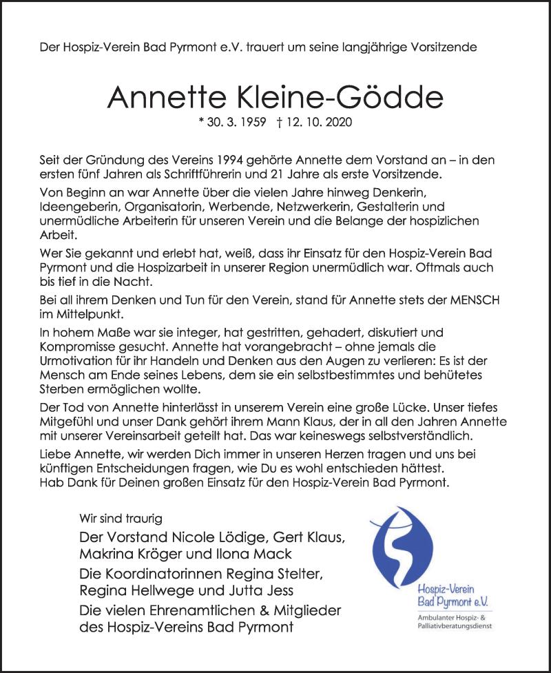 Traueranzeige für Annette Kleine-Gödde vom 17.10.2020 aus Deister- und Weserzeitung