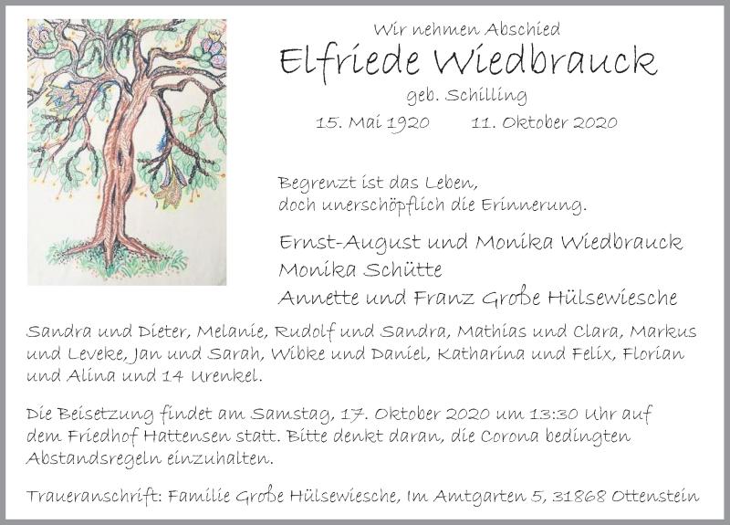 Traueranzeige für Elfriede Wiedbrauck vom 15.10.2020 aus Deister- und Weserzeitung