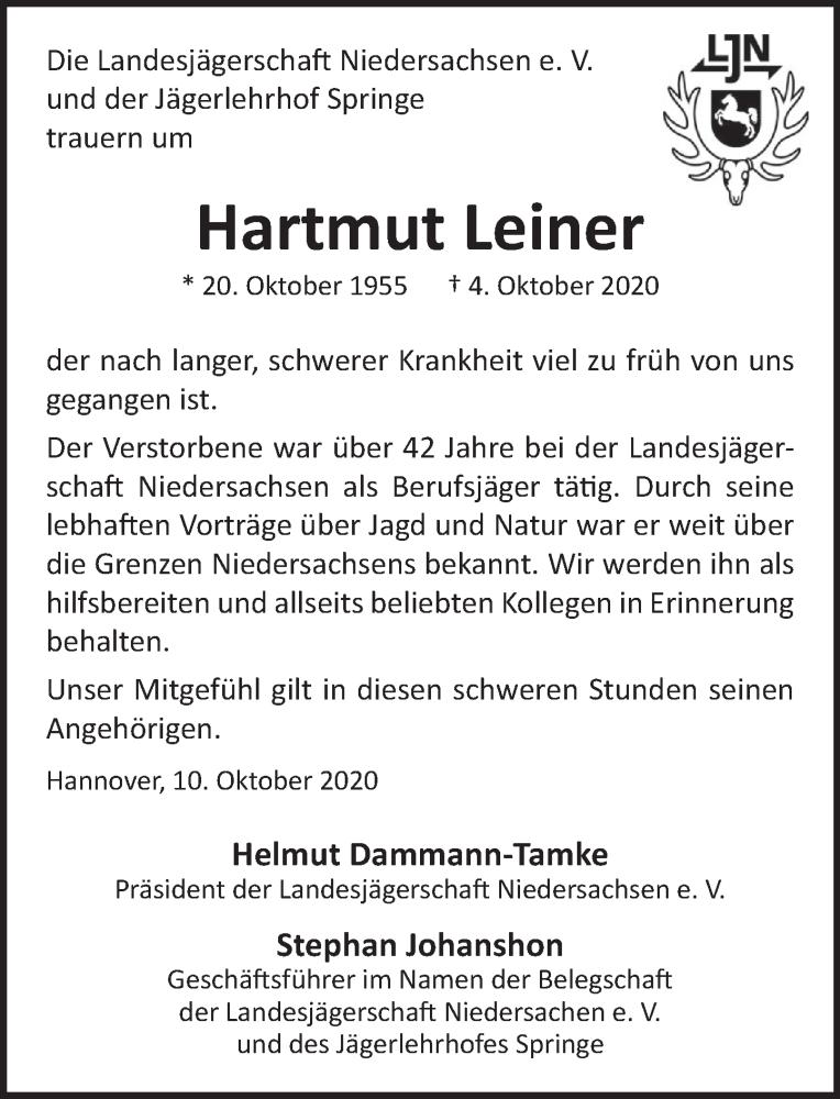 Traueranzeige für Hartmut Leiner vom 10.10.2020 aus Neue Deister-Zeitung