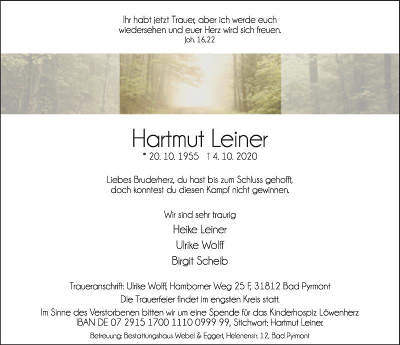 Traueranzeige für Hartmut Leiner vom 10.10.2020 aus Deister- und Weserzeitung