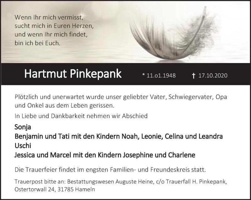 Traueranzeige für Hartmut Pinkepank vom 24.10.2020 aus Deister- und Weserzeitung