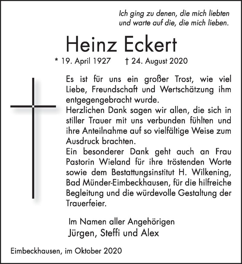 Traueranzeige für Heinz Eckert vom 24.10.2020 aus Neue Deister-Zeitung