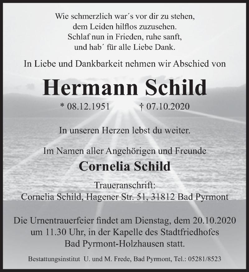 Traueranzeige für Hermann Schild vom 10.10.2020 aus Deister- und Weserzeitung