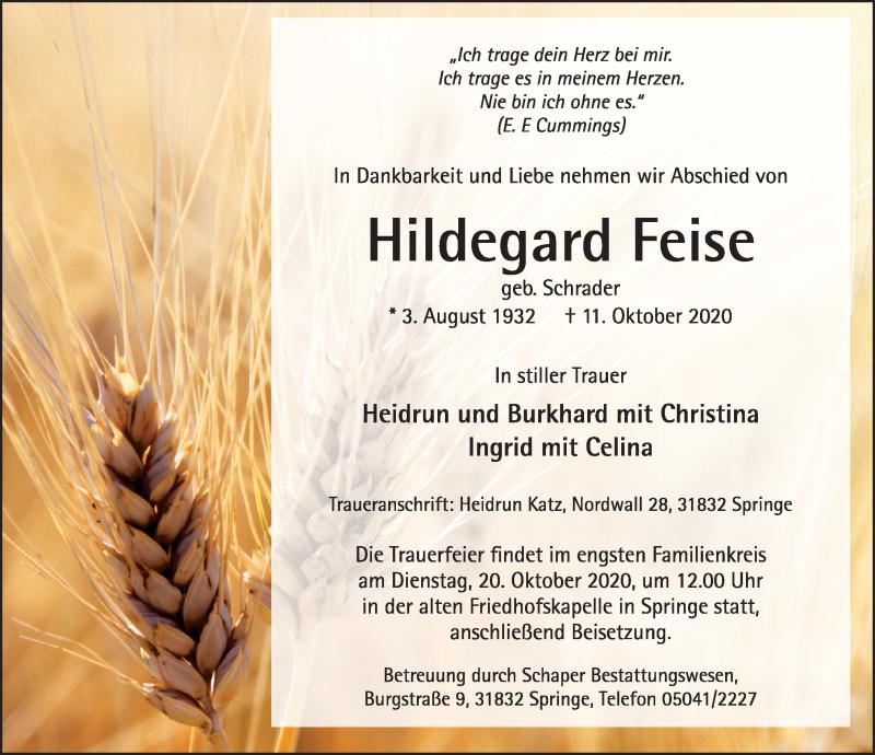 Traueranzeige für Hildegard Feise vom 17.10.2020 aus Neue Deister-Zeitung