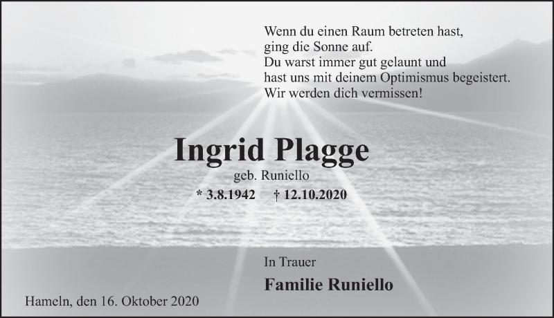 Traueranzeige für Ingrid Plagge vom 17.10.2020 aus Deister- und Weserzeitung
