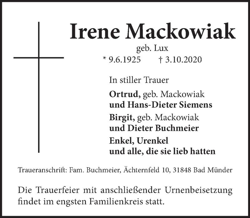 Traueranzeige für Irene Mackowiak vom 10.10.2020 aus Neue Deister-Zeitung