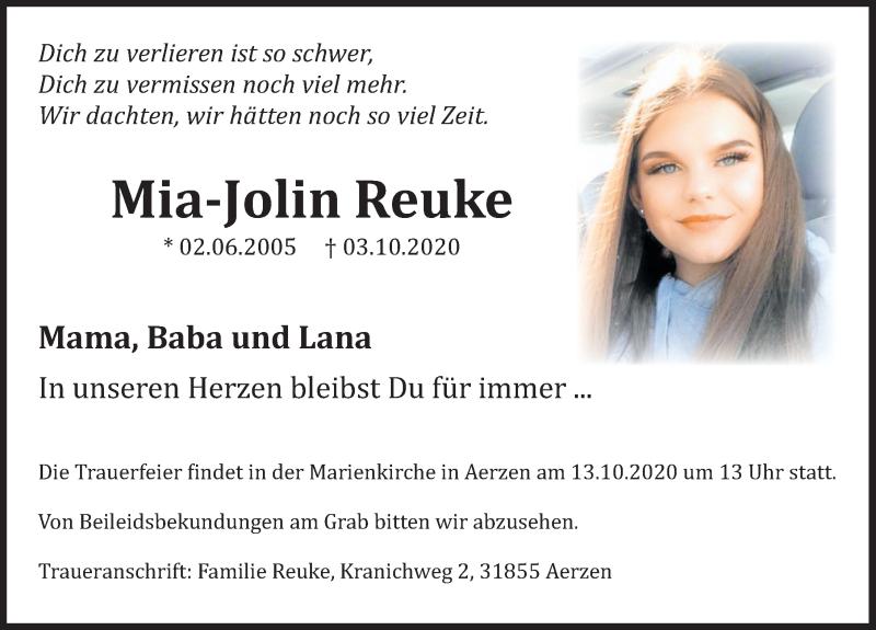 Traueranzeige für Mia-Jolin Reuke vom 10.10.2020 aus Deister- und Weserzeitung