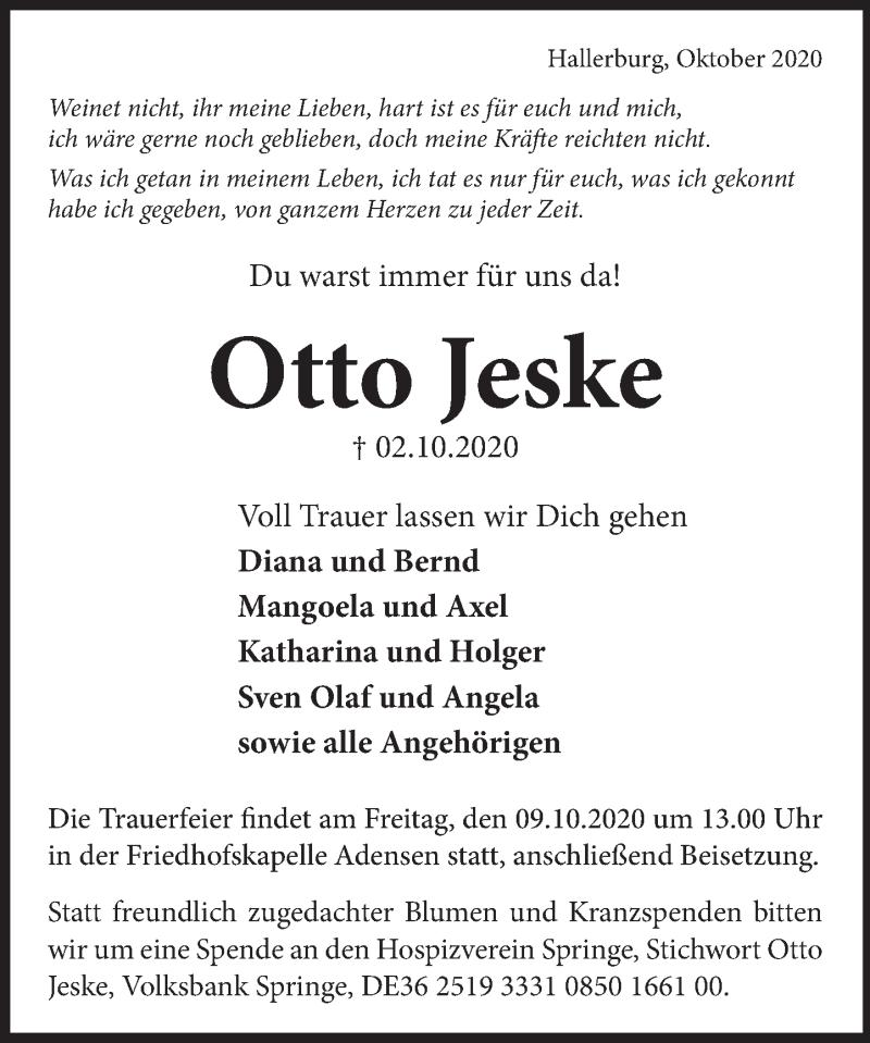Traueranzeige für Otto Jeske vom 06.10.2020 aus Neue Deister-Zeitung