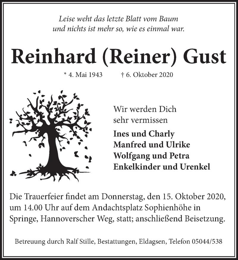 Traueranzeige für Reinhard Gust vom 10.10.2020 aus Neue Deister-Zeitung