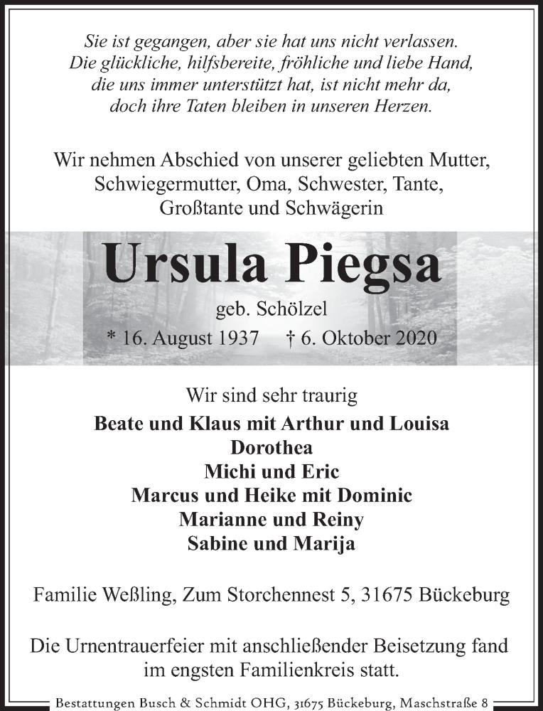Traueranzeige für Ursula Piegsa vom 17.10.2020 aus Neue Deister-Zeitung