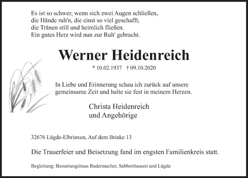 Traueranzeige für Werner Heidenreich vom 17.10.2020 aus Deister- und Weserzeitung