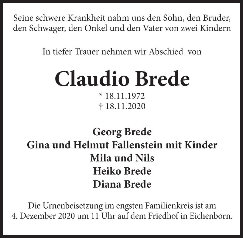 Traueranzeige für Claudio Brede vom 28.11.2020 aus Deister- und Weserzeitung