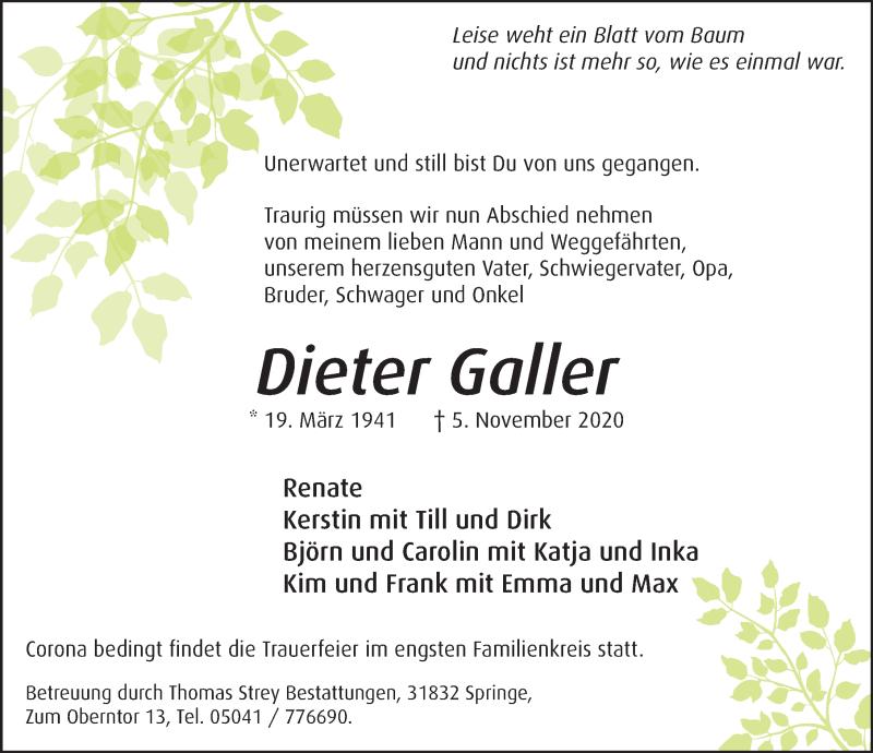 Traueranzeige für Dieter Galler vom 14.11.2020 aus Neue Deister-Zeitung
