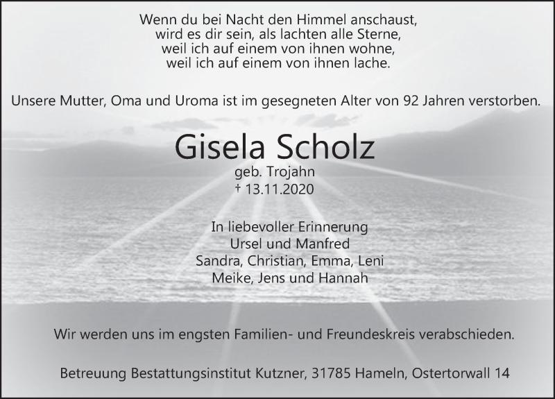 Traueranzeige für Gisela Scholz vom 21.11.2020 aus Deister- und Weserzeitung