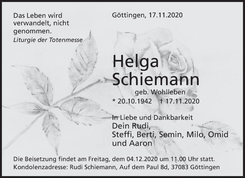 Traueranzeige für Helga Schiemann vom 21.11.2020 aus Deister- und Weserzeitung