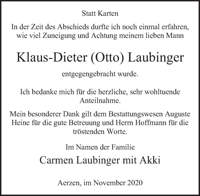 Traueranzeige für Klaus-Dieter  Laubinger vom 07.11.2020 aus Deister- und Weserzeitung