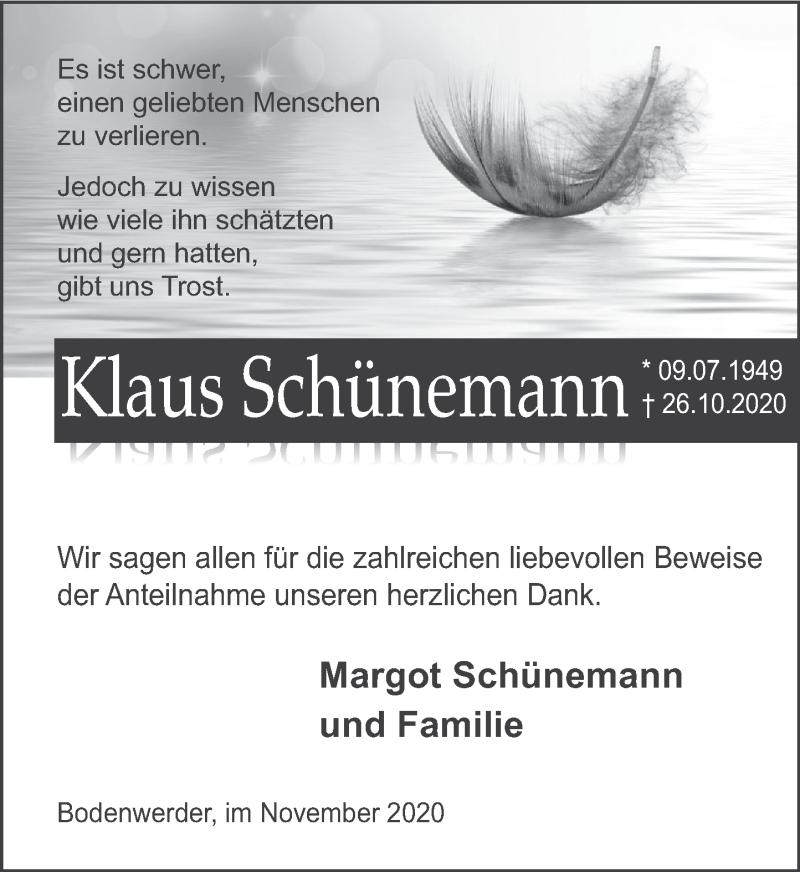 Traueranzeige für Klaus Schünemann vom 14.11.2020 aus Deister- und Weserzeitung