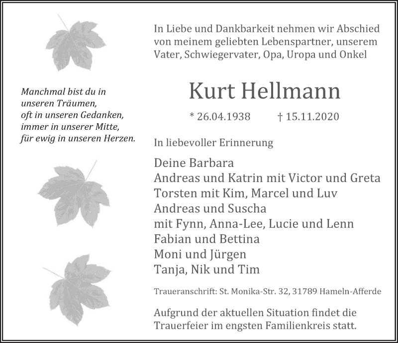 Traueranzeige für Kurt Hellmann vom 21.11.2020 aus Neue Deister-Zeitung